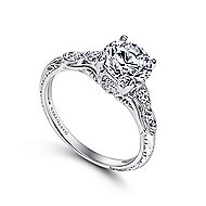 Azalea Platinum Round Straight Engagement Ring angle 3