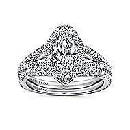 Azucena 18k White Gold Marquise  Halo Engagement Ring angle 4