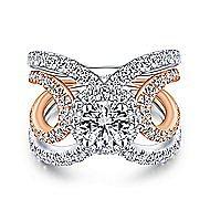 Bahamas 18k White And Rose Gold Round Halo Engagement Ring angle 1
