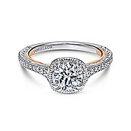 Bali 18k White And Rose Gold Round Straight Engagement Ring angle 1