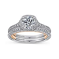 Bali 18k White And Rose Gold Round Straight Engagement Ring angle 4