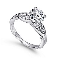 Barcia 18k White Gold Round Straight Engagement Ring angle 3