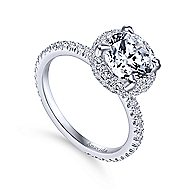 Bardot 18k White Gold Round Double Halo Engagement Ring angle 3