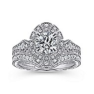 Baroness 14k White Gold Round Halo Engagement Ring