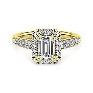 Beckett 14k Yellow Gold Emerald Cut Halo Engagement Ring angle 1