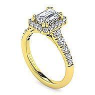 Beckett 14k Yellow Gold Emerald Cut Halo Engagement Ring angle 3