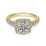 Beckett 14k Yellow Gold Round Halo Engagement Ring angle 1