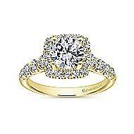 Beckett 14k Yellow Gold Round Halo Engagement Ring angle 5