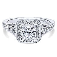 Bedford 14k White Gold Princess Cut Halo Engagement Ring angle 1