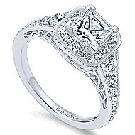 Bedford 14k White Gold Princess Cut Halo Engagement Ring angle 3