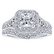 Bedford 14k White Gold Princess Cut Halo Engagement Ring angle 4
