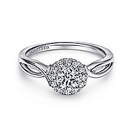 Believe 14k White Gold Round Halo Engagement Ring angle 1