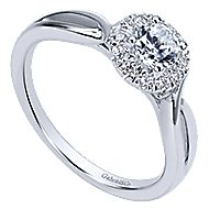 Believe 14k White Gold Round Halo Engagement Ring angle 3