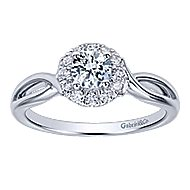Believe 14k White Gold Round Halo Engagement Ring angle 5