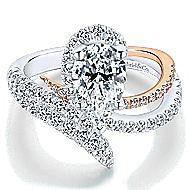 Belinda 18k White And Rose Gold Pear Shape Halo Engagement Ring angle 1