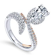 Belinda 18k White And Rose Gold Pear Shape Halo Engagement Ring angle 3