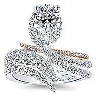 Belinda 18k White And Rose Gold Pear Shape Halo Engagement Ring angle 4