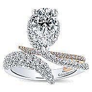 Belinda 18k White And Rose Gold Pear Shape Halo Engagement Ring angle 5