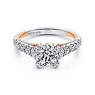Bella 18k White And Rose Gold Round Straight Engagement Ring angle 1