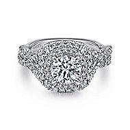 Belladonna 14k White Gold Round Double Halo Engagement Ring angle 1