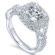 Belladonna 14k White Gold Round Double Halo Engagement Ring angle 3