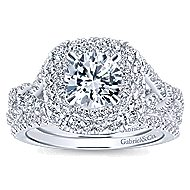 Belladonna 14k White Gold Round Double Halo Engagement Ring angle 4