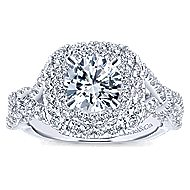 Belladonna 14k White Gold Round Double Halo Engagement Ring angle 5