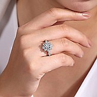 Bellamy 14k White Gold Round Halo Engagement Ring