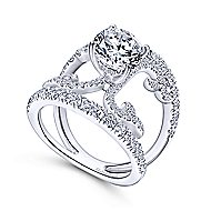 Bellatrix 14k White Gold Round Split Shank Engagement Ring angle 3