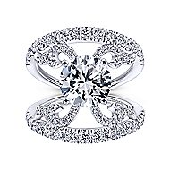 Bellatrix 14k White Gold Round Split Shank Engagement Ring angle 5