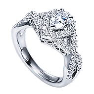 Berenice 14k White Gold Pear Shape Halo Engagement Ring