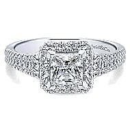 Bergamot 14k White Gold Princess Cut Halo Engagement Ring angle 1