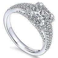 Bergamot 14k White Gold Princess Cut Halo Engagement Ring angle 3