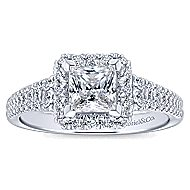 Bergamot 14k White Gold Princess Cut Halo Engagement Ring angle 5