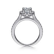 Bernadette 14k White Gold Round Halo Engagement Ring angle 2