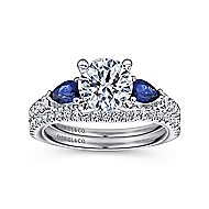 Beso 18k White Gold Round 3 Stones Engagement Ring angle 4