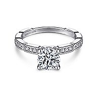 Beverly 14k White Gold Round Straight Engagement Ring angle 1