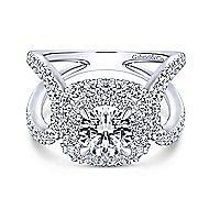 Bianca 18k White Gold Round Double Halo Engagement Ring angle 1