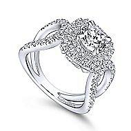 Bianca 18k White Gold Round Double Halo Engagement Ring angle 3