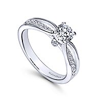 Birdie 14k White Gold Round Split Shank Engagement Ring angle 3