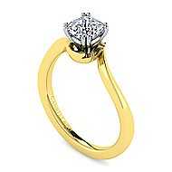 Blair 14k Yellow And White Gold Cushion Cut Solitaire Engagement Ring
