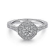 Blanca 14k White Gold Round Halo Engagement Ring angle 1