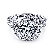 Bliss 18k White Gold Round Double Halo Engagement Ring angle 1