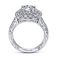 Bliss 18k White Gold Round Double Halo Engagement Ring angle 2