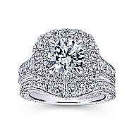 Bliss 18k White Gold Round Double Halo Engagement Ring angle 4