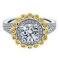Bloomfield 14k Yellow And White Gold Round Double Halo Engagement Ring angle 1
