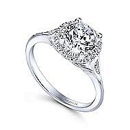 Boa 18k White Gold Round Halo Engagement Ring angle 3