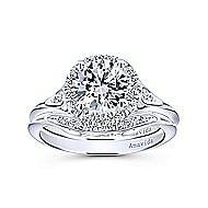 Boa 18k White Gold Round Halo Engagement Ring angle 4