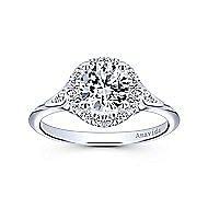 Boa 18k White Gold Round Halo Engagement Ring angle 5