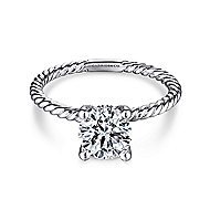 Bobbi 14k White Gold Round Solitaire Engagement Ring angle 1